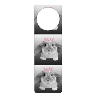 Adorable little bunny with a pink bow door hanger