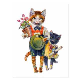 Adorable Little Cats Bearing Gifts Postcard