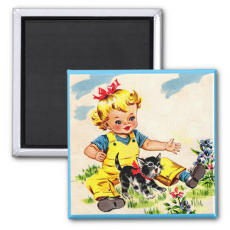adorable little girl with adorable little kitten square magnet