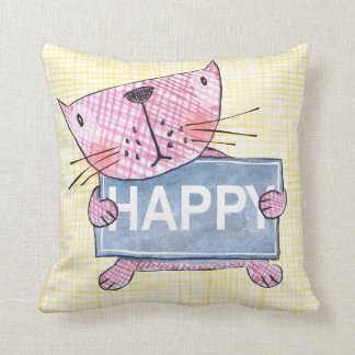 adorable little kitty cat with HAPPY sign board Cushion