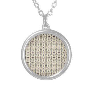 Adorable Little Owls Pattern on Light Yellow Round Pendant Necklace