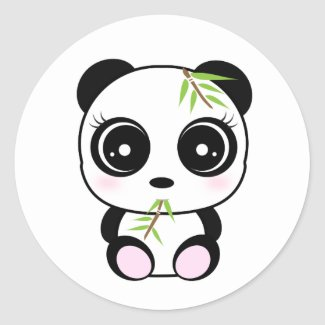 Adorable little panda eating stickers