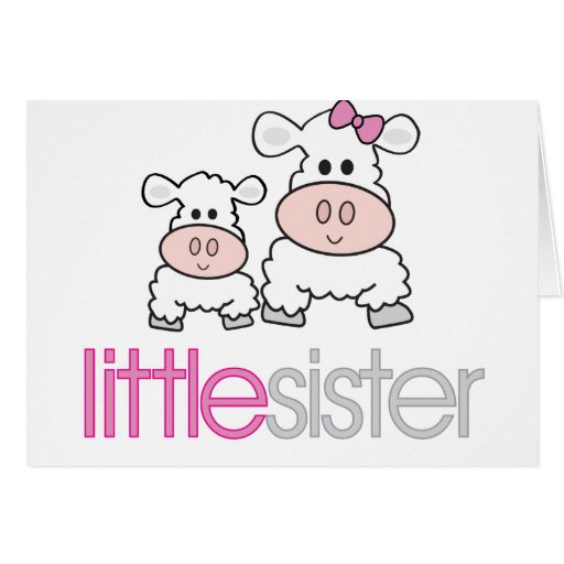 Adorable Little Sister Sheep T-shirt Greeting Cards