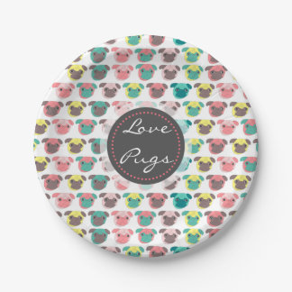 "Adorable "" Love Pugs"" colorful pugs illustration 7 Inch Paper Plate"