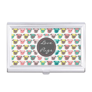 "Adorable "" Love Pugs"" colorful pugs illustration Business Card Holder"