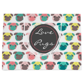 "Adorable "" Love Pugs"" colorful pugs illustration Large Gift Bag"