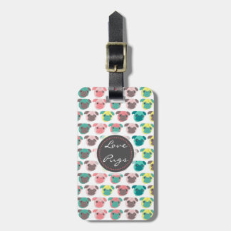 "Adorable "" Love Pugs"" colorful pugs illustration Luggage Tag"