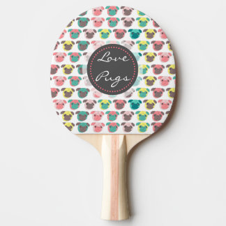 "Adorable "" Love Pugs"" colorful pugs illustration Ping Pong Paddle"