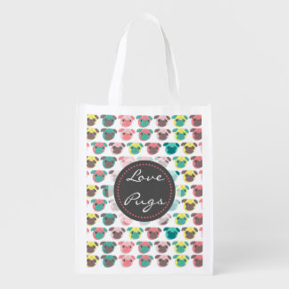 "Adorable "" Love Pugs"" colorful pugs illustration Reusable Grocery Bag"