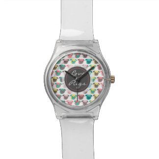 """Adorable """" Love Pugs"""" colorful pugs illustration Wrist Watches"""