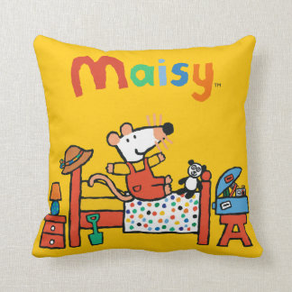 Adorable Maisy in Red Overalls Cushion