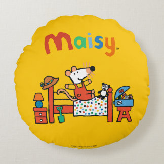 Adorable Maisy in Red Overalls Round Cushion