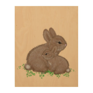 Adorable Mama and Baby Bunny in Clover Painting Wood Canvases