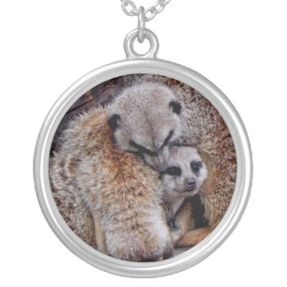 Adorable Meerkats Bundle of Fur Nature Photo Silver Plated Necklace