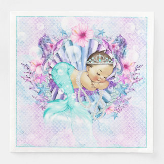 Adorable Mermaid Baby Shower Napkins Disposable Napkins
