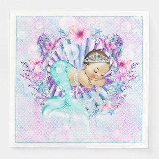 Adorable Mermaid Baby Shower Napkins Disposable Serviette