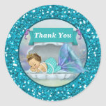 Adorable Mermaid Baby Thank You stickers #130