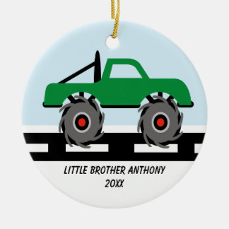 Adorable Monster Truck Little Brother Ornament