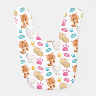 Adorable Multicolor Cartoon Style Cats Paw Prints Bib