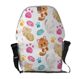 Adorable Multicolor Cartoon Style Cats Paw Prints Courier Bag