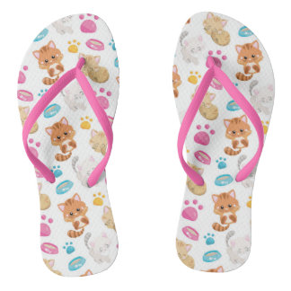 Adorable Multicolor Cartoon Style Cats Paw Prints Flip Flops
