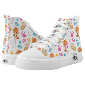 Adorable Multicolor Cartoon Style Cats Paw Prints High Tops