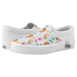 Adorable Multicolor Cartoon Style Cats Paw Prints Slip On Shoes