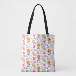 Adorable Multicolor Cartoon Style Cats Paw Prints Tote Bag