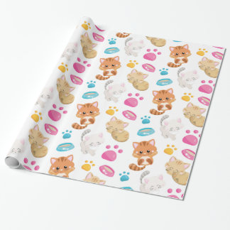 Adorable Multicolor Cartoon Style Cats Paw Prints Wrapping Paper