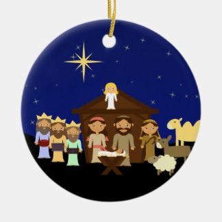 Adorable Nativity Personalized Christmas Christmas Ornament