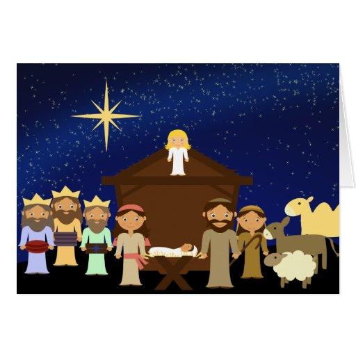 Adorable Nativity Scene Christmas Card