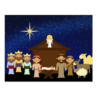 Adorable Nativity Scene Christmas Postcard