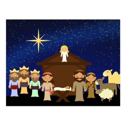 Adorable Nativity Scene Christmas Postcard