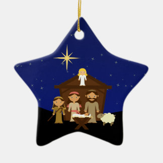 Adorable Nativity Scene Christmas Star Ornament