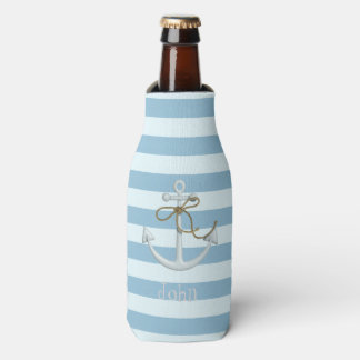 Adorable Nautical Anchor on Light Blue  Stripes Bottle Cooler