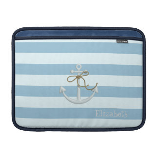 Adorable Nautical Anchor on Light Blue  Stripes MacBook Sleeve