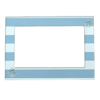 Adorable Nautical Anchor on Light Blue  Stripes Magnetic Frame