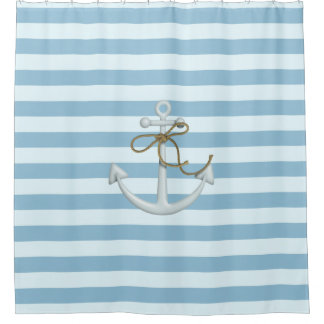 Adorable Nautical Anchor on Light Blue  Stripes Shower Curtain