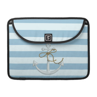 Adorable Nautical Anchor on Light Blue  Stripes Sleeve For MacBook Pro