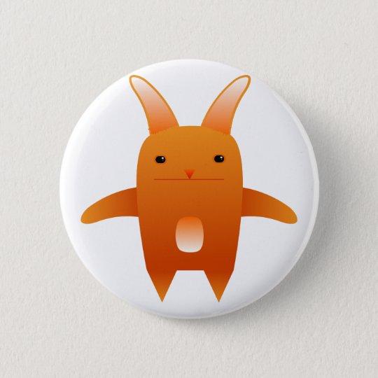 adorable orange rabbit. 6 cm round badge
