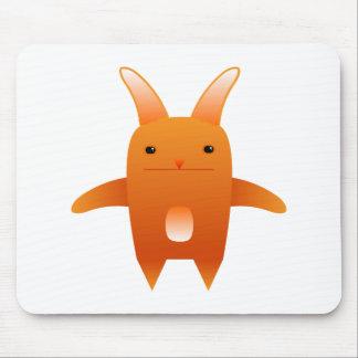 adorable orange rabbit mouse pad