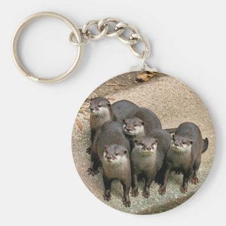 Adorable Otter Family Basic Round Button Key Ring