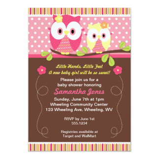 Adorable Owls Baby Shower Birthday Invitation