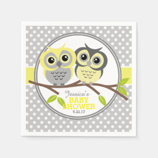 Adorable Owls Baby Shower Disposable Napkin