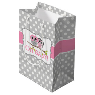Adorable Owls Baby Shower Medium Gift Bag
