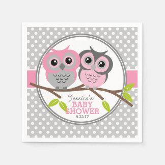 Adorable Owls Baby Shower Paper Napkin
