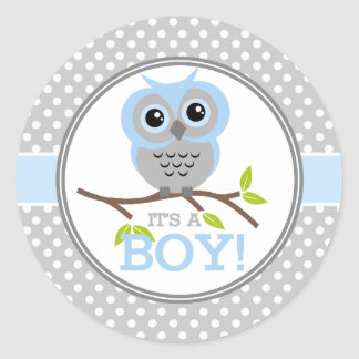 Adorable Owls Its a Boy Round Sticker