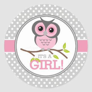 Adorable Owls Its a Girl Round Sticker