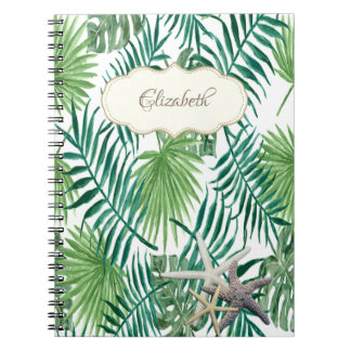 Adorable Palm Leaf ,Starfish ,Personalized Notebook
