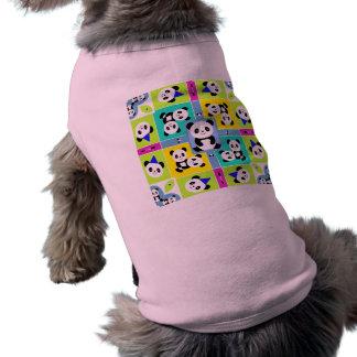 Adorable Panda Bears Bright Colors Sleeveless Dog Shirt
